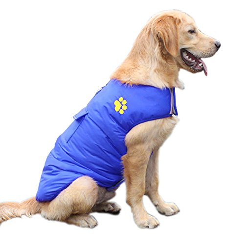 Petslove Cold Weather Reversible Dog Jacket Coat Pet Clothes Parka Dog Warm Clothing for Winter for Small Medium and Large Dog Blue M