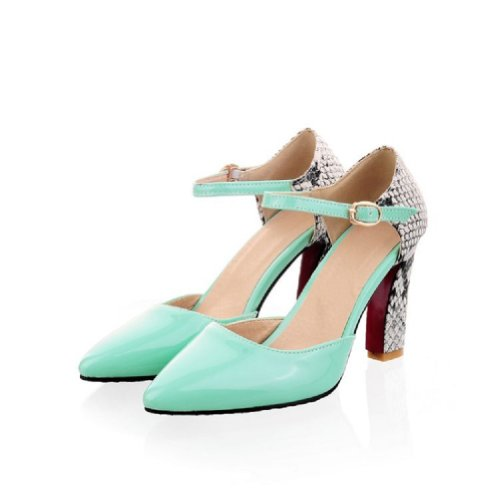 Pied De Charme Femmes Chunky Talon Pompes Chaussures Pointues Chaussures Vert