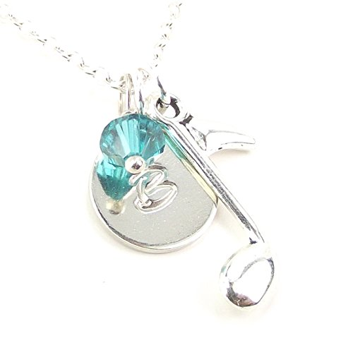 Personalized Music Note Necklace Customize Initial Disk and Swarovski Crystal Silver Plated Birthday Gift (16)