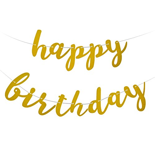 Famoby Gold Glittery Happy Birthday Banner for Birthday Party Decorations