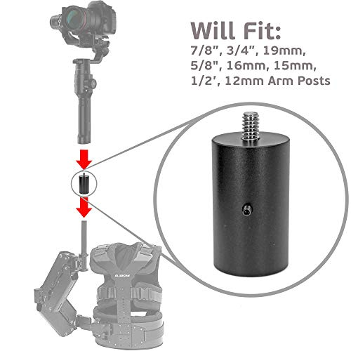 GyroVu Universal Armpost Adaptor for attaching DJI Ronin-S to Tiffen/Steadycam G40, G50, G60 G70, Scout, Zephyr; Glidecam X-10, X-20, X-30, X-45, Gold; GPI Pro Atlas, Titan; ActionCam