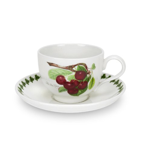 Portmeirion Pomona Traditional Shape Breakfast Cup and Saucer, Set of 6 Assorted (Hoary Morning Apple)
