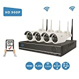 [Extendable 8CH System] NorthShire Wireless Surveillance Kit with 4CH [1.3 Megapixel] 960P Security Cameras and NVR 2.0 Support up to 8CH without HDD For Sale