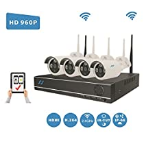[Extendable 8CH System] NorthShire Wireless Surveillance Kit with 4CH [1.3 Megapixel] 960P Security Cameras and NVR 2.0 Support up to 8CH without HDD