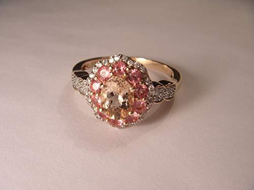 Band Morganite Ring - Magnificent 14K Pink Rose Gold Morganite Spinel Zircon Ring Band