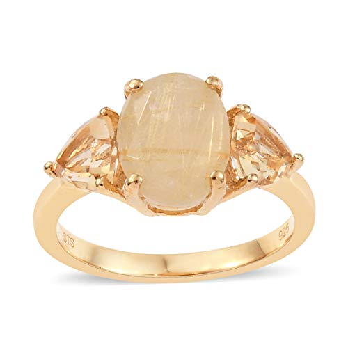 925 Sterling Silver 14K Yellow Gold Plated Golden Rutilated Quartz Citrine Women Ring Size 8 Cttw 2.1
