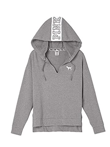 Victoria's Secret PINK Raw Edge Split Neck Pullover Hoodie Grey- Small