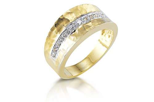 14K Yellow Gold Matte-Finish Hammered-Finish Hand-Crafted Designer Ring, Enhanced with Pave Set Diamonds., 0.00 14k Yellow Gold Matte