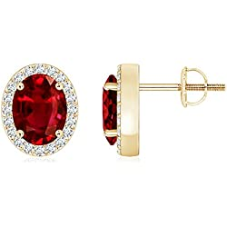 July Birthstone - Prong Set Diamond Halo Oval Natural Ruby Stud Earrings for Women
