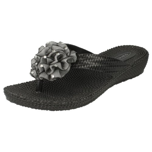 F10266 Ladies Wedge Spot On D Posts Black Toe pq6zXwrxq