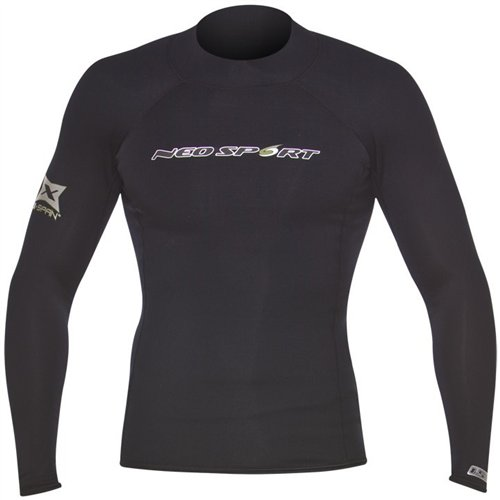 NeoSport Wetsuits Men's XSPAN Long Sleeve Shirt, Black, Large - Diving, Snorkeling & Wakeboarding ()