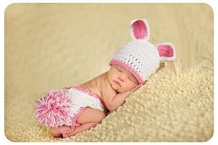 Rosa Conejo (2), recién nacido bebé niña/niño ganchillo Costume Foto Fotografía Prop sombreros trajes