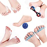 Toe Separators, Bunion Corrector Relieve Your Pain Shape Your Toes and Bunion Protector Including Five Toes, Big Toe, Small Toe, Massage Ball, Tension Belt for Sleeping,Watching and Have a Rest (M)