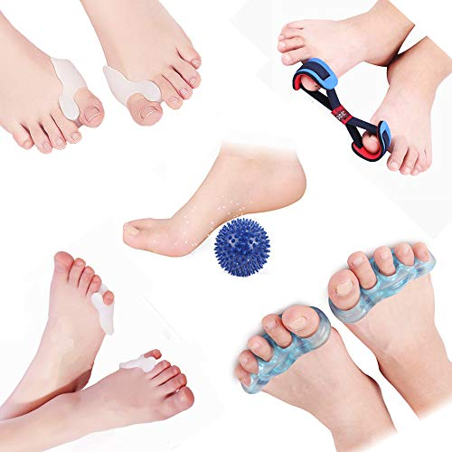 Toe Separators, Bunion Corrector Relieve Your Pain Shape Your Toes and Bunion Protector Including Five Toes, Big Toe, Small Toe, Massage Ball, Tension Belt for Sleeping,Watching and Have a Rest (M) by NEWXCC