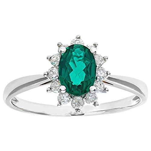 mglmahi 9ct Or Jaune Vert émeraude et diamant Look Bague Grappe