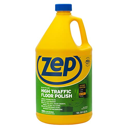 Zep ZU0812128 High Traffic Floor Polish 128 Ounce ZUHTFF128, 128 oz. Clear, Green