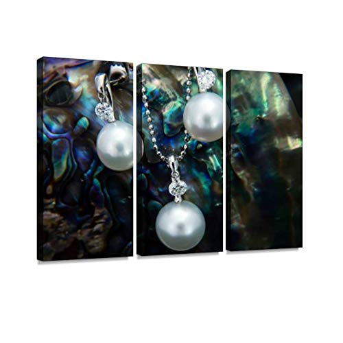 (White gold pendant and earrings with south sea pearls and diamonds Wall Artwork Exclusive Photography Vintage Abstract Paintings Print on Canvas Home Decor Wall Art 3 Panels Framed Ready to Hang)