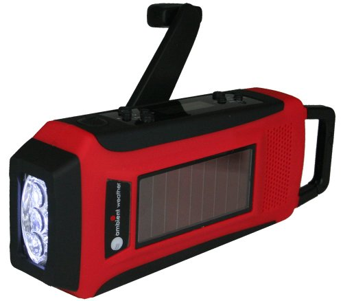 Ambient Weather Wr 099 Compact Emergency Solar Hand Crank Am Fm Weatherband Digital Radio  Flashlight  Cell Phone Charger And Cables