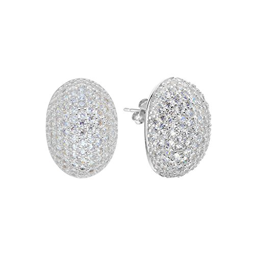 EVER FAITH 925 Sterling Silver Pave Cubic Zirconia Fashion Oval Shape Stud Earrings Clear -