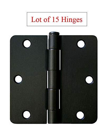 15 Matte Black 3.5'X 3.5' Inch Door Hinges 1/4' Radius Corner Interior 3' 3.5'
