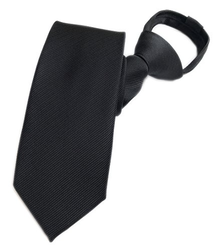 Elfeves Mens Classic Black Repp Jacquard Woven Tie Graceful Necktie Young Series