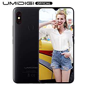 "UMIDIGI F1 Unlocked Cell Phones Android 9.0 6.3"" FHD+ 128GB ROM 4GB RAM Helio P60 5150mAh Big Battery 18W Fast Charge Smartphone NFC 16MP+8MP Phone' (Black)"