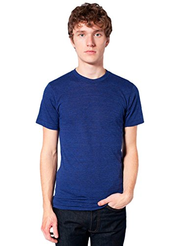American Apparel  Unisex Tri-Blend Short Sleeve Track Shirt, Tri-Indigo, (Tri Blend Rib)