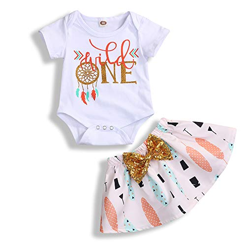 Infant Toddler Baby Girl Outfits 1st Birthday Romper Wild One Top Bow Knot Tutu Skirt 2PCS Summer Clothes (White, 12-18 Months) -