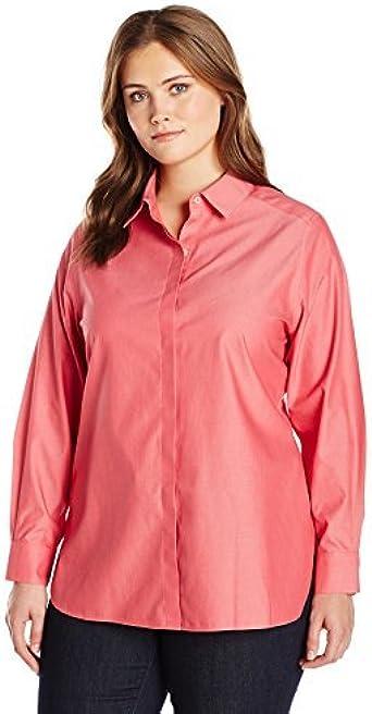 Foxcroft Womens Plus Size Long Sleeve Cici Denim Tencel Tunic