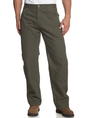 - Carhartt Men's Washed duck double front dungaree,Moss,36W x 30L