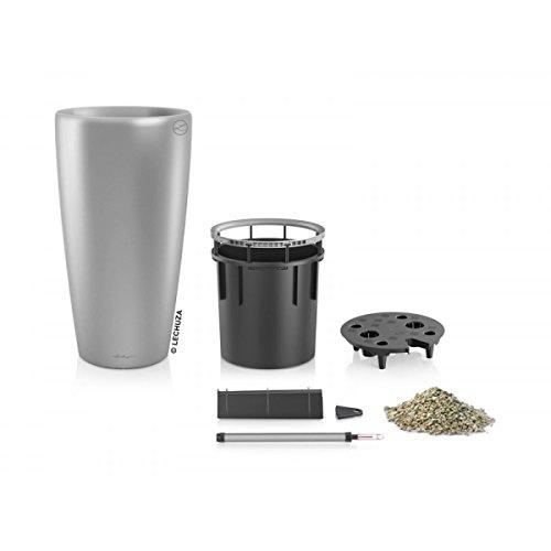 Lechuza EP-LRON-SIL-16 16 x 30 in. Rondo Premium Planter44; Silver Metallic by Lechuza