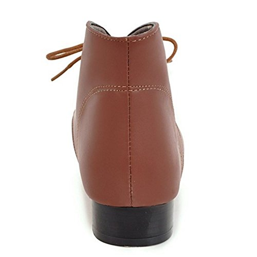 Boots Classical Brown Booties Ankle Flat Lace TAOFFEN Shoes Women Up n6q5wOqZ8x