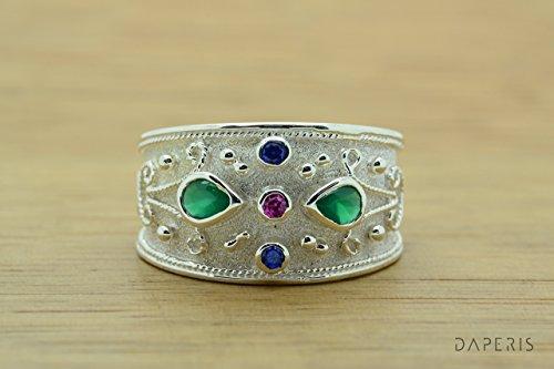 Etruscan Style Ring (Pear Cut Emerald Byzantine Style Ring, Byzantine Ruby Emeralds Sapphires CZ Ring, CZ Band Ring, Sterling Silver Ring, Etruscan Style Ring, Byzantine Ring, Greek Jewelry, Luxury Ring, Medieval Ring, Elegant Sterling Silver Ring)