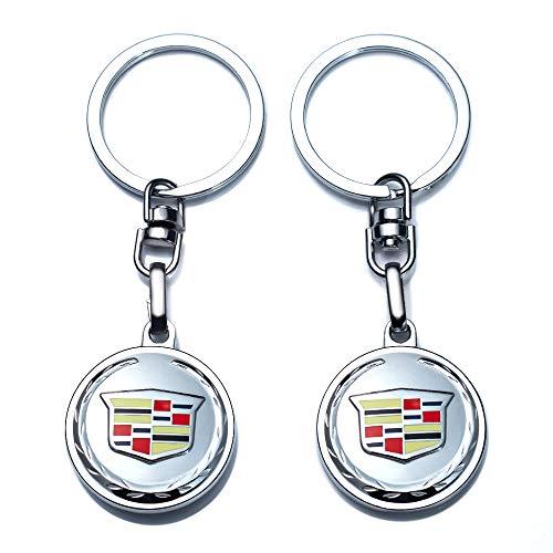 JIYUE Compatible for Cadillac Keychains 3D Car Logo Car Logo Keychain for Cadillac ATS CTS EXT SRX XTS XLR Sedan ELR Key Chain Keyring Accessories Keyring with Logo(2pcs)