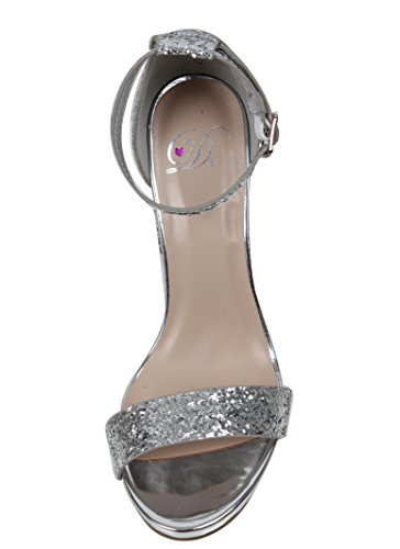 Delicious Womens Glitter Open Toe Ankle Strap Block Heel Sandal Silver 5VZCY