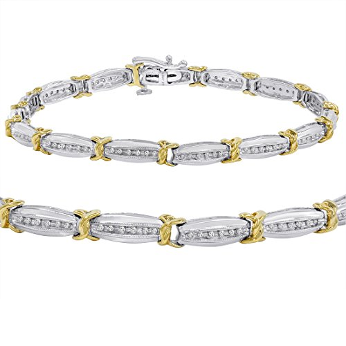 AGS Certified 1/4ct TW Two Tone Diamond Tennis Bracelet in Sterling Silver