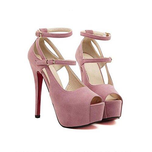 W&LM Sra Tacones altos Sandalias De acuerdo Plataforma a prueba de agua Tacones altos Zapatos de la boca de los pescados Espalda Vacío Sandalias Pink