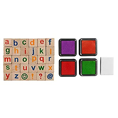 Moore: Premium Wooden Small Alphabet Stamp Set - 34 Piece Set of Lowercase Alphabet Stamps with 4 Color Ink Pads: Office Products