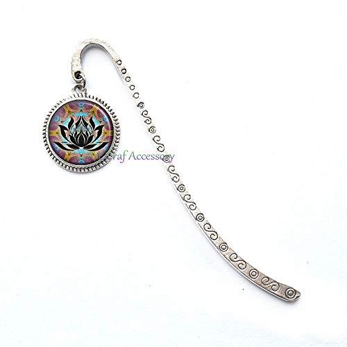 Lotus Glass Bookmarker, Lotus Flower Jewelry, Zen Meditation Bookmark, Meditation Bookmark, Spiritual Jewelry, Hippie Jewelry,RN397 (G1)