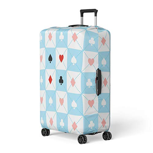 Pinbeam Luggage Cover Alice Suits Blue Red White Chess Board Diamond Travel Suitcase Cover Protector Baggage Case Fits 18-22 inches