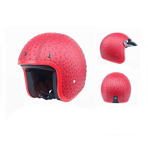 (SOGG Retro Harley Helmets Motorcycle 3/4 Leather Helmet Chopper Motocross Cruiser Moped Lightweight Personality Retro Half Helmet DOT Certification,Red,S)