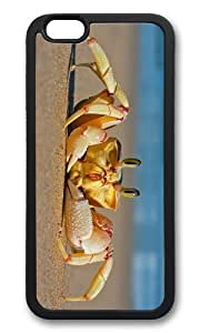 MOKSHOP Adorable Crab on Beach Soft Case Protective Shell Cell Phone Cover For Apple Iphone 6 (4.7 Inch) - TPU Black
