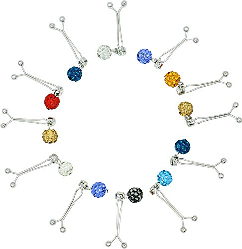 Ababalaya 4cm Muslim Multi-Use Rhinestone Ball Pendant Pins Hijab Pins Accessory Pack of 12,Multicoloured