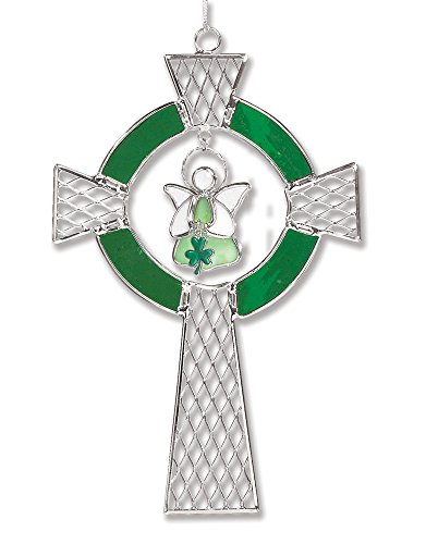 (BANBERRY DESIGNS Irish Celtic Cross Stained Glass Suncatcher Ornament with Angel Holding Shamrock Charm - Glass and Metal - 9 Inch)