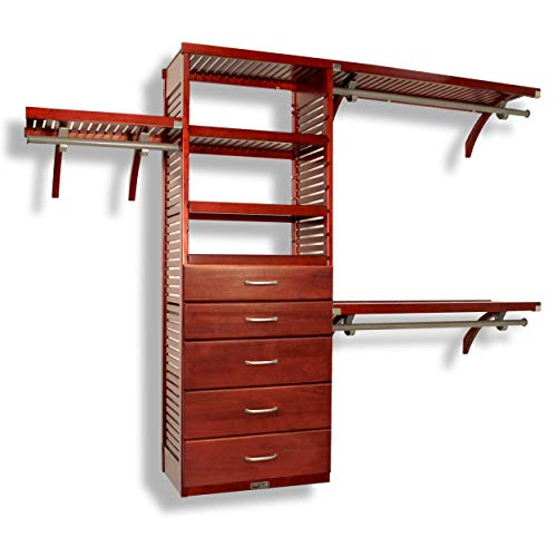 John Louis Home 16in. Deep Deluxe Organizer - 5 Drawers (6 & 8in. Deep) - Red Mahogany Finish