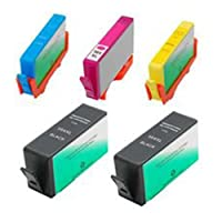 Amsahr 564XLBK(CN684WN) Remanufactured Replacement HP Ink Cartridges for Select Printers/Faxes - 2 Black/3 Color
