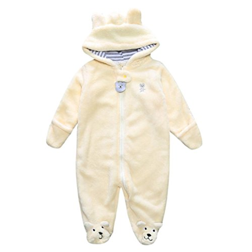 Lanpan Newborn Baby Infant Boy Girl Bear Hoodie Jumpsuit Romper (3M, yellow)