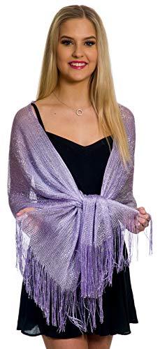 Shawls and Wraps for Evening Dresses Metallic Sparkle Womens Wedding Lilac Light Purple Shawl
