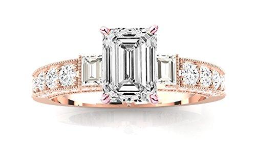 Vs1 Emerald Cut Diamond Solitaire (1.06 Carat 14K Rose Gold Gorgeous Prong Set Round And Half Bezel Baguette Emerald Cut Diamond Engagement Ring (F Color VS1 Clarity Center Stones))