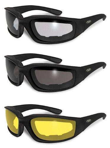 3 Pairs Kickback Foam Padded Motorcycle - Night Glasses Motorcycle